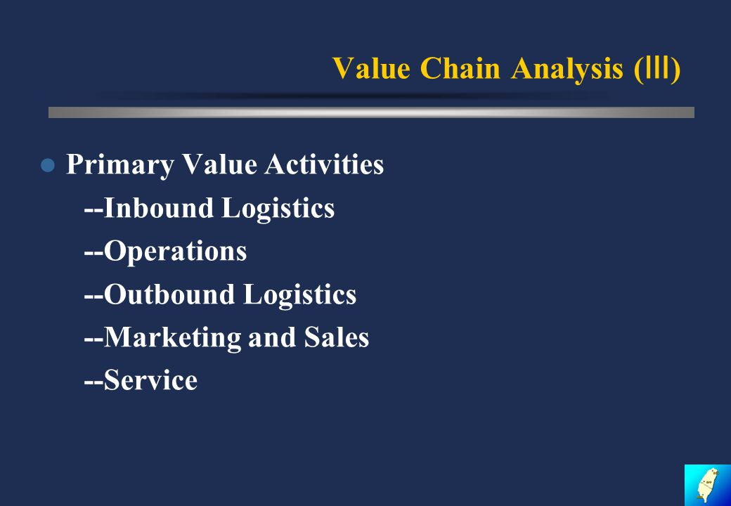 Value Chain Analysis ( Ⅲ ) Primary Value Activities --Inbound Logistics --Operations --Outbound Logistics --Marketing and Sales --Service