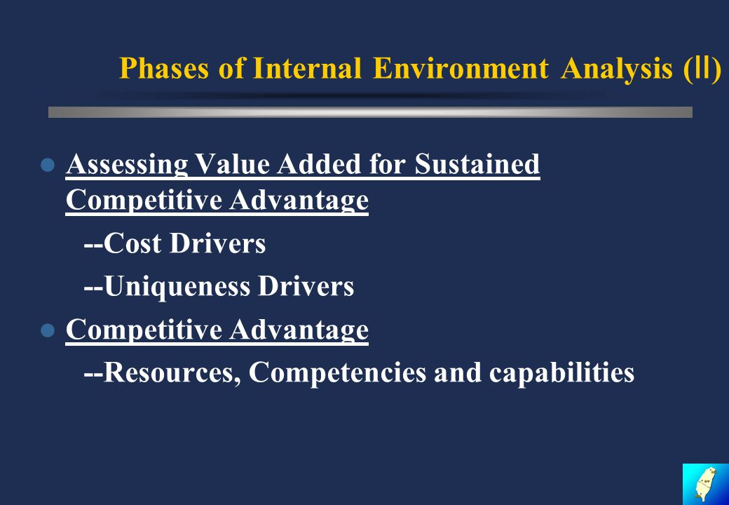 Phases of Internal Environment Analysis ( Ⅱ ) Assessing Value Added for Sustained Competitive Advantage --Cost Drivers --Uniqueness Drivers Competitive Advantage --Resources, Competencies and capabilities
