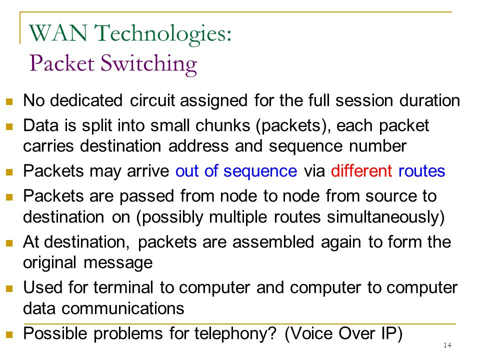 14 WAN Technologies: Packet Switching No dedicated circuit assigned for the full session duration Data is split into small chunks (packets), each packet carries destination address and sequence number Packets may arrive out of sequence via different routes Packets are passed from node to node from source to destination on (possibly multiple routes simultaneously) At destination, packets are assembled again to form the original message Used for terminal to computer and computer to computer data communications Possible problems for telephony.