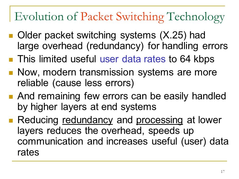 17 Evolution of Packet Switching Technology Older packet switching systems (X.25) had large overhead (redundancy) for handling errors This limited useful user data rates to 64 kbps Now, modern transmission systems are more reliable (cause less errors) And remaining few errors can be easily handled by higher layers at end systems Reducing redundancy and processing at lower layers reduces the overhead, speeds up communication and increases useful (user) data rates