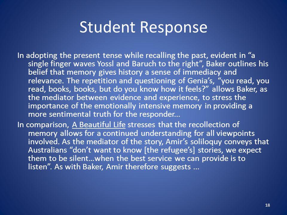 interpretive essay present tense