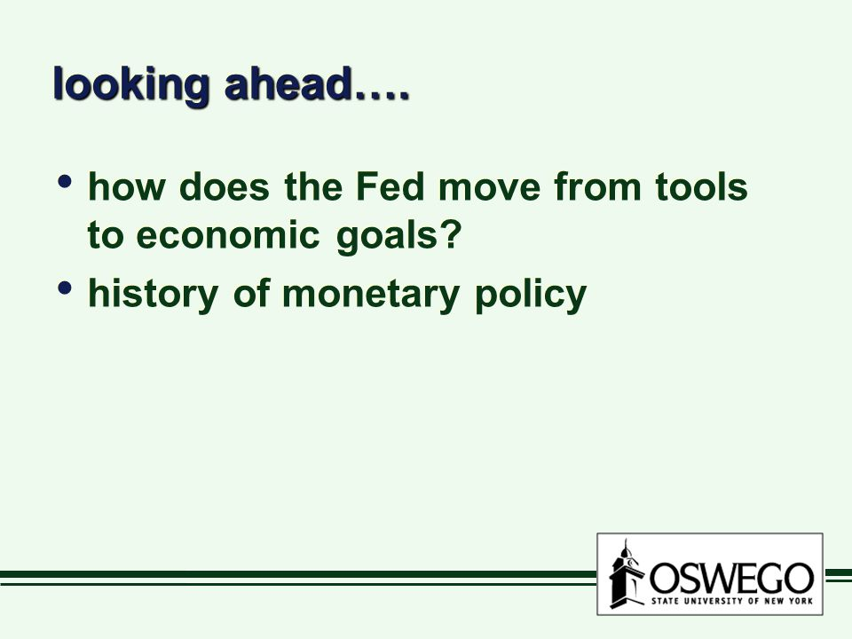 looking ahead…. how does the Fed move from tools to economic goals.