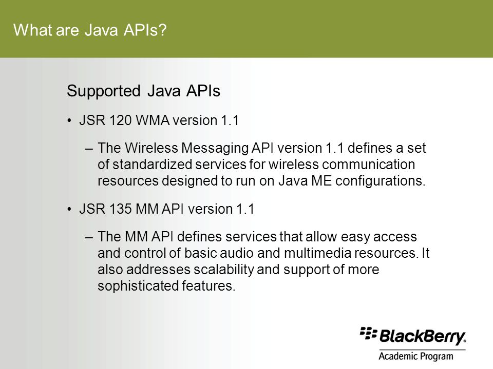 What are Java APIs.