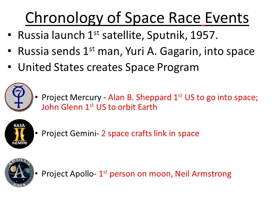 Chronology of Space Race Events Russia launch 1 st satellite, Sputnik, 1957.