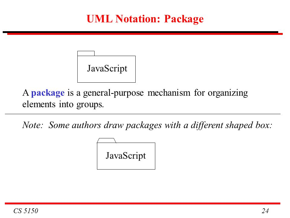 CS UML Notation: Package A package is a general-purpose mechanism for organizing elements into groups.