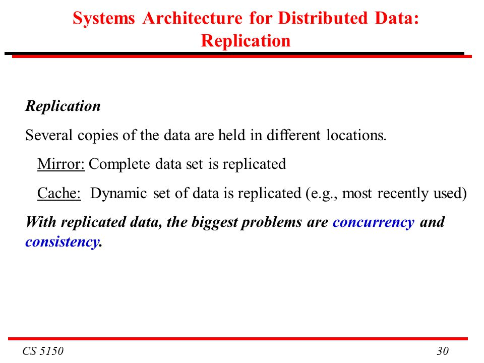 CS Systems Architecture for Distributed Data: Replication Replication Several copies of the data are held in different locations.