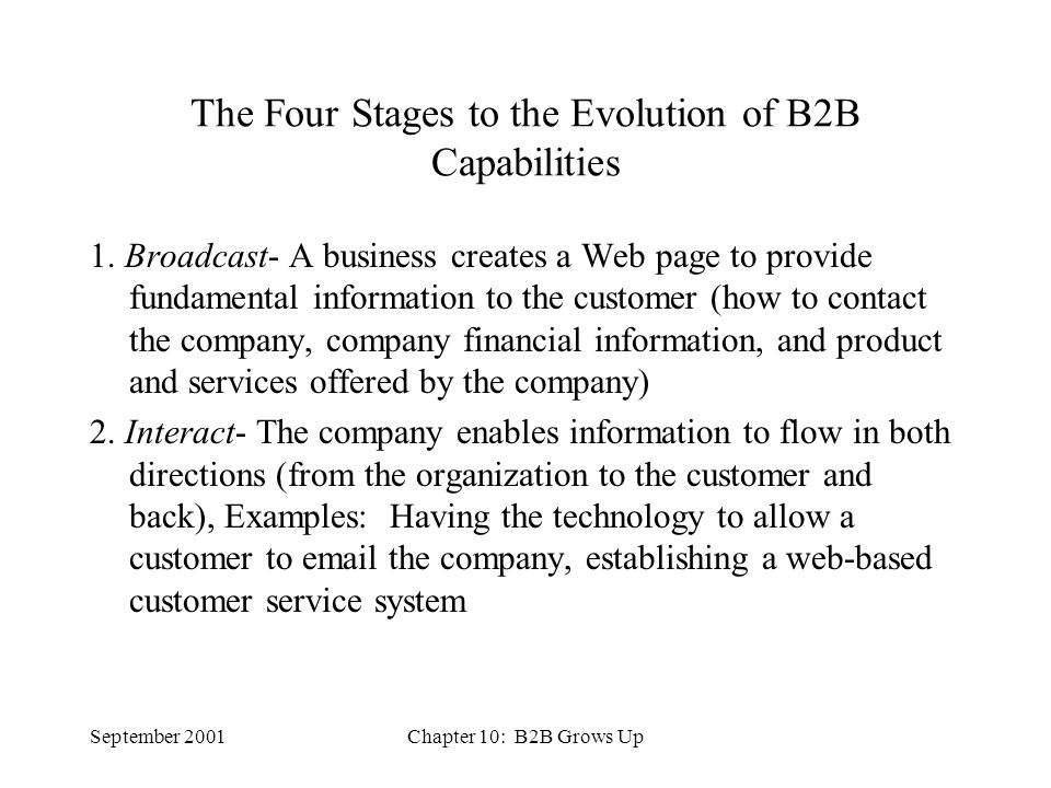 September 2001Chapter 10: B2B Grows Up The Four Stages to the Evolution of B2B Capabilities 1.