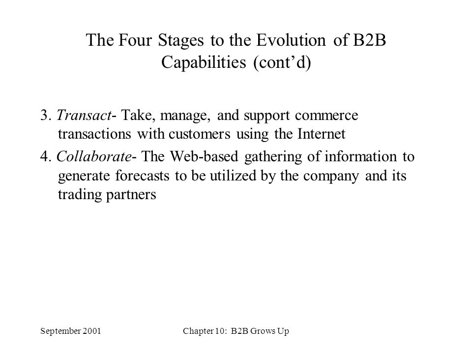 September 2001Chapter 10: B2B Grows Up Three Categories of B2B 1.
