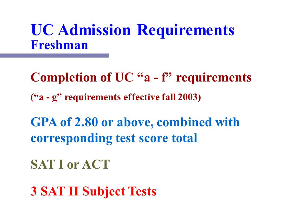 Uc a to g requirements