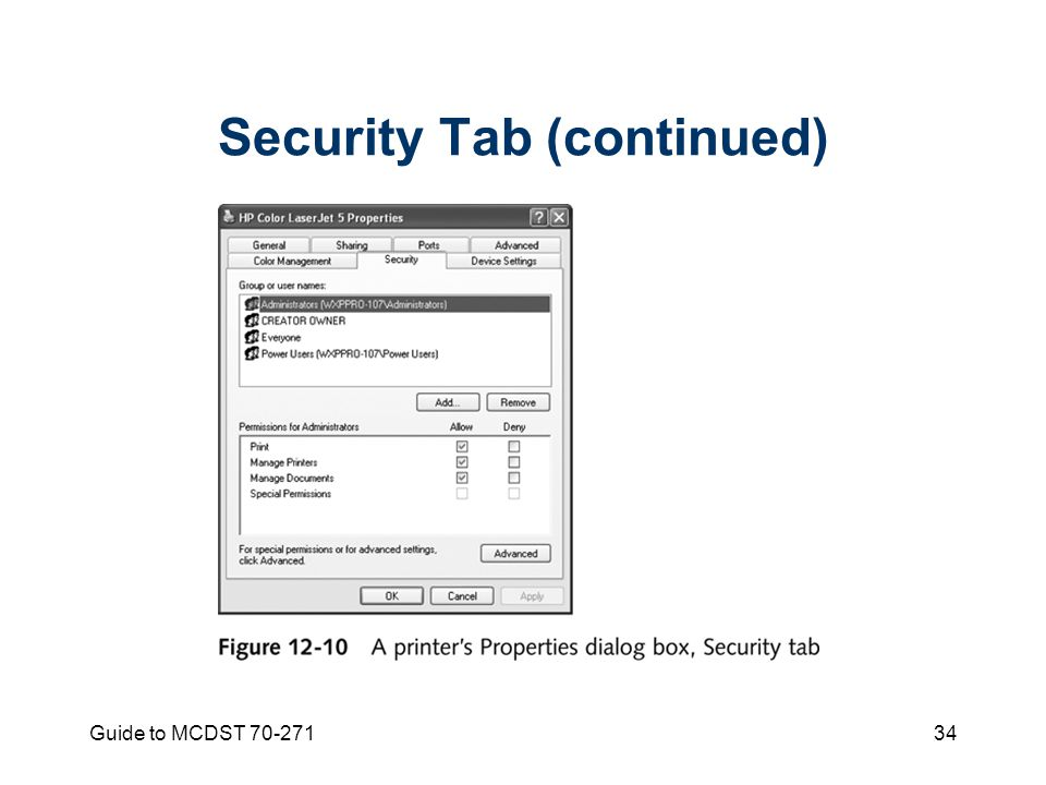 Guide to MCDST Security Tab (continued)