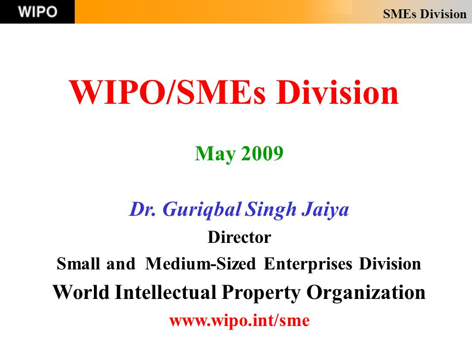 SMEs Division WIPO/SMEs Division May 2009 Dr.