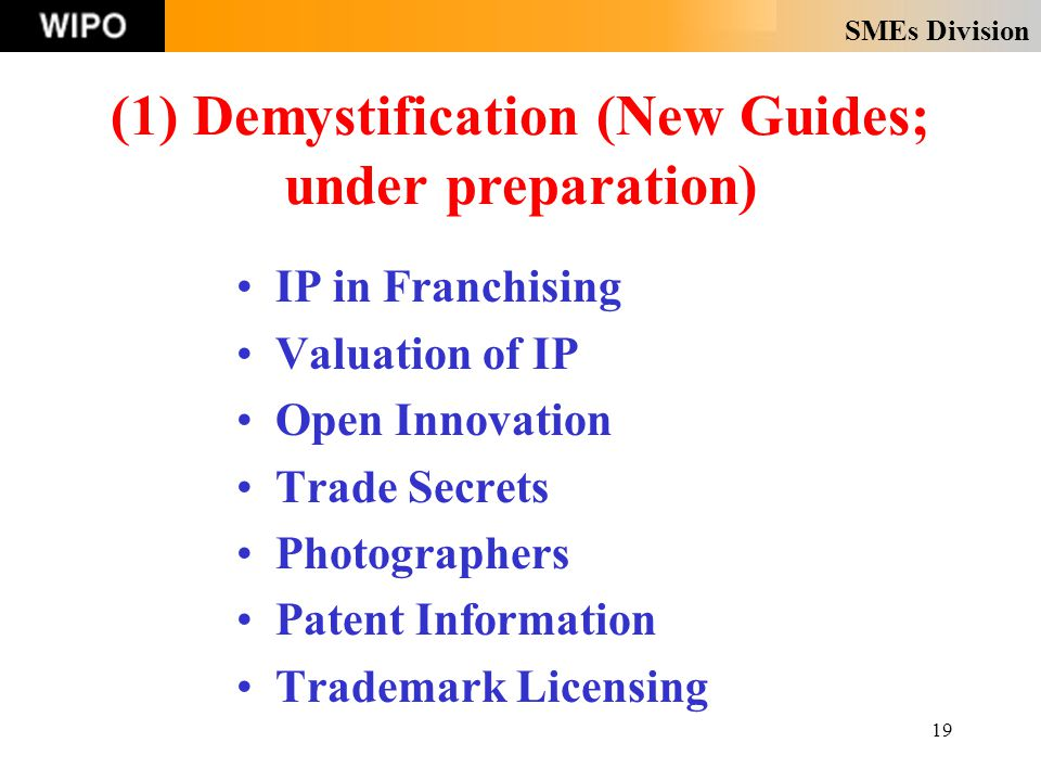 SMEs Division 19 IP in Franchising Valuation of IP Open Innovation Trade Secrets Photographers Patent Information Trademark Licensing (1) Demystification (New Guides; under preparation)