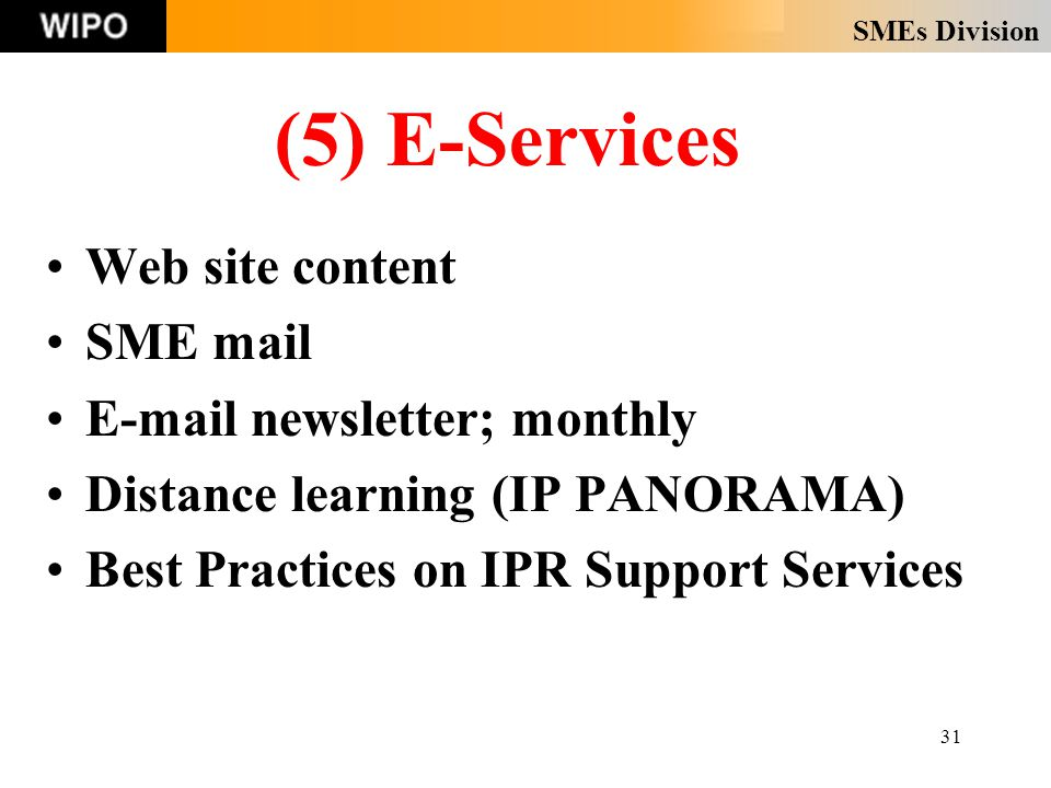 SMEs Division 31 (5) E-Services Web site content SME mail E-mail newsletter; monthly Distance learning (IP PANORAMA) Best Practices on IPR Support Services