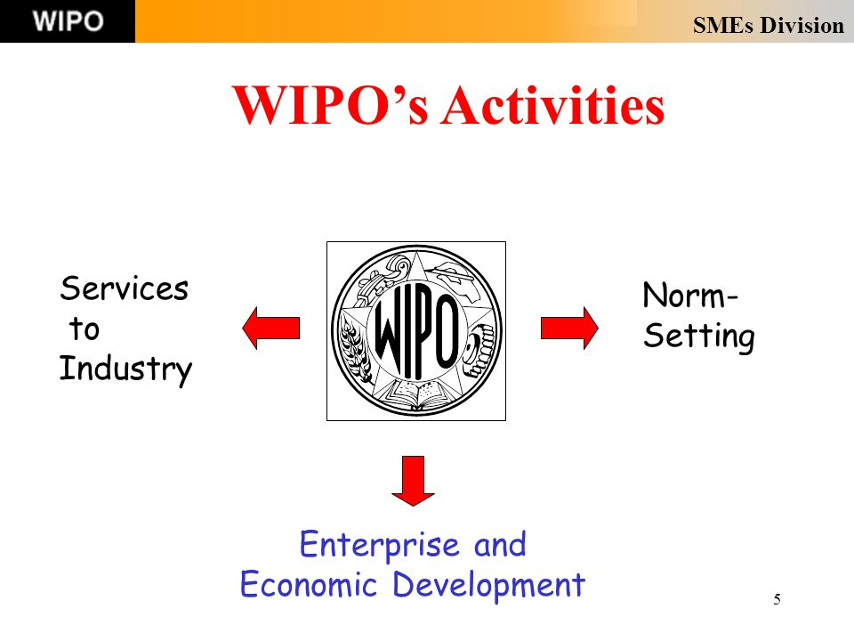 SMEs Division 5 WIPO's Activities Norm- Setting Services to Industry Enterprise and Economic Development