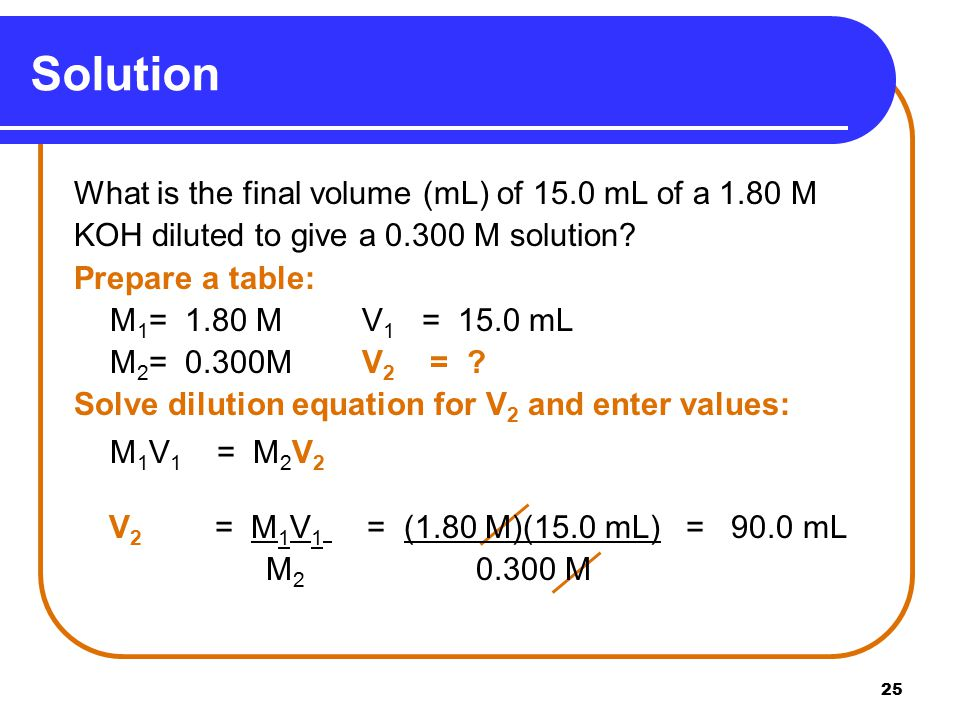25 Solution What is the final volume (mL) of 15.0 mL of a 1.80 M KOH diluted to give a M solution.