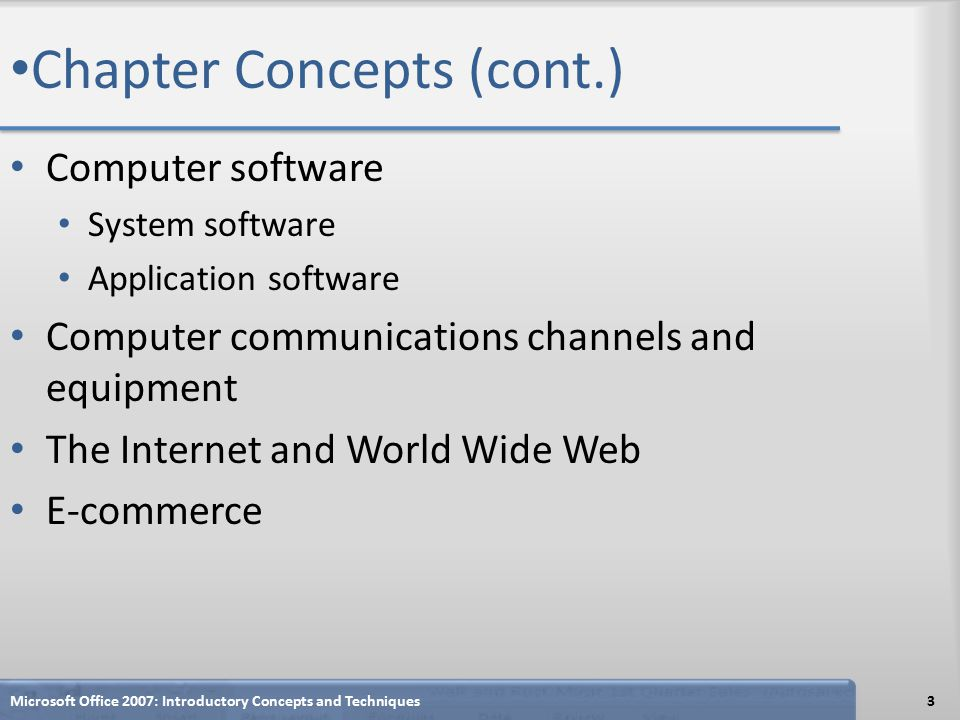 Chapter Concepts (cont.) Computer software System software Application software Computer communications channels and equipment The Internet and World Wide Web E-commerce Microsoft Office 2007: Introductory Concepts and Techniques3