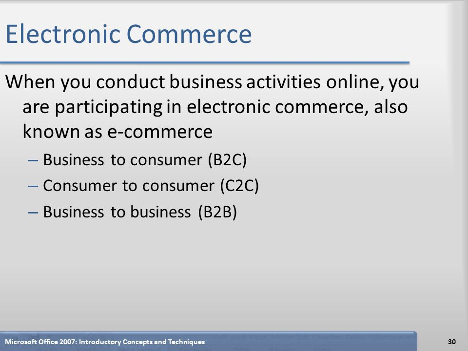 Electronic Commerce When you conduct business activities online, you are participating in electronic commerce, also known as e-commerce – Business to consumer (B2C) – Consumer to consumer (C2C) – Business to business (B2B) Microsoft Office 2007: Introductory Concepts and Techniques30