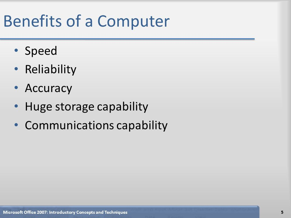 Benefits of a Computer Speed Reliability Accuracy Huge storage capability Communications capability Microsoft Office 2007: Introductory Concepts and Techniques5
