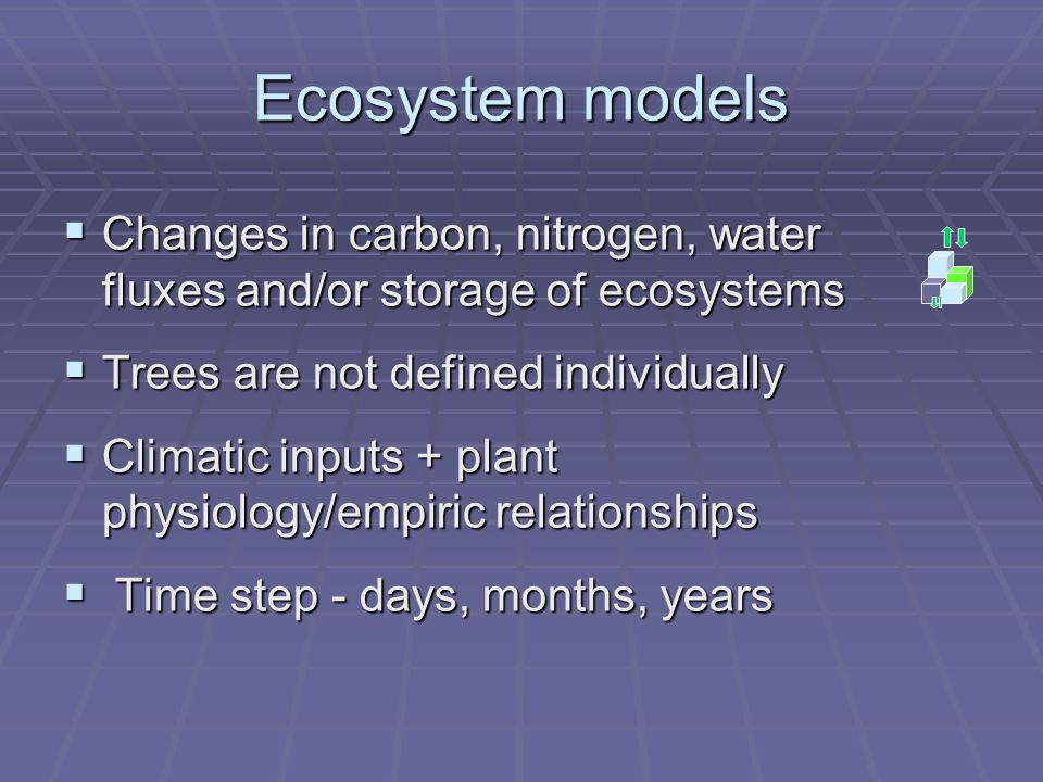 Ecosystem models  Changes in carbon, nitrogen, water fluxes and/or storage of ecosystems  Trees are not defined individually  Climatic inputs + plant physiology/empiric relationships  Time step - days, months, years