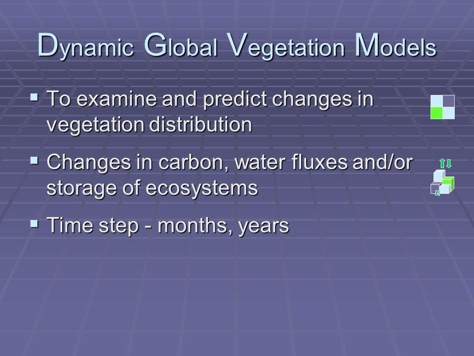 D ynamic G lobal V egetation M odels  To examine and predict changes in vegetation distribution  Changes in carbon, water fluxes and/or storage of ecosystems  Time step - months, years