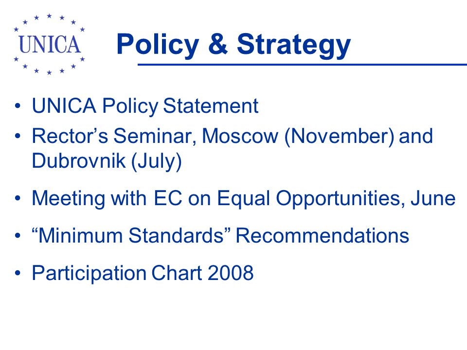 Policy & Strategy UNICA Policy Statement Rector's Seminar, Moscow (November) and Dubrovnik (July) Meeting with EC on Equal Opportunities, June Minimum Standards Recommendations Participation Chart 2008