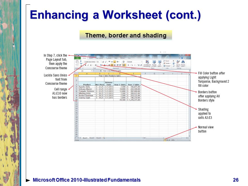 26Microsoft Office 2010-Illustrated Fundamentals Enhancing a Worksheet (cont.) Theme, border and shading