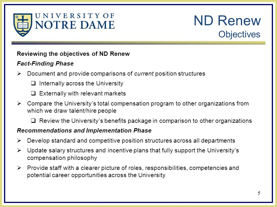 ND Renew Objectives Reviewing the objectives of ND Renew Fact-Finding Phase  Document and provide comparisons of current position structures  Internally across the University  Externally with relevant markets  Compare the University's total compensation program to other organizations from which we draw talent/hire people  Review the University's benefits package in comparison to other organizations Recommendations and Implementation Phase  Develop standard and competitive position structures across all departments  Update salary structures and incentive plans that fully support the University's compensation philosophy  Provide staff with a clearer picture of roles, responsibilities, competencies and potential career opportunities across the University 5