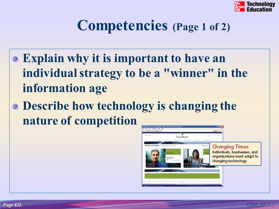 CE06_PP15-2 Competencies (Page 1 of 2) Explain why it is important to have an individual strategy to be a winner in the information age Describe how technology is changing the nature of competition Page 432