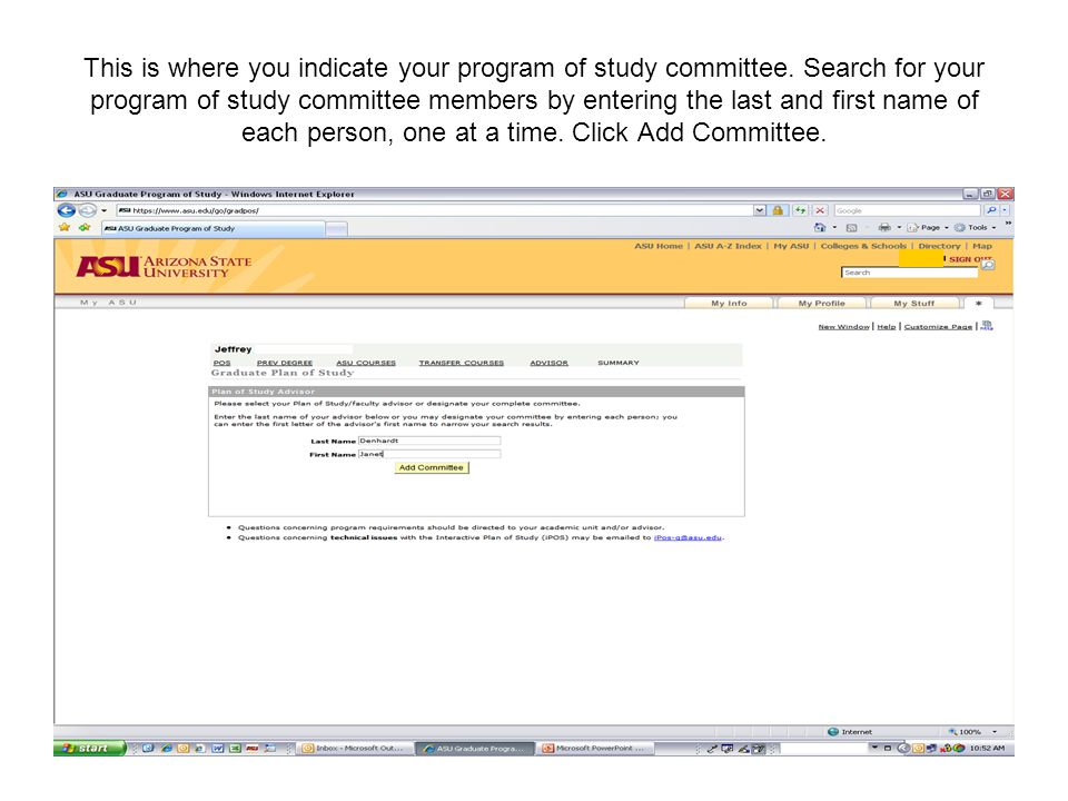 This is where you indicate your program of study committee.