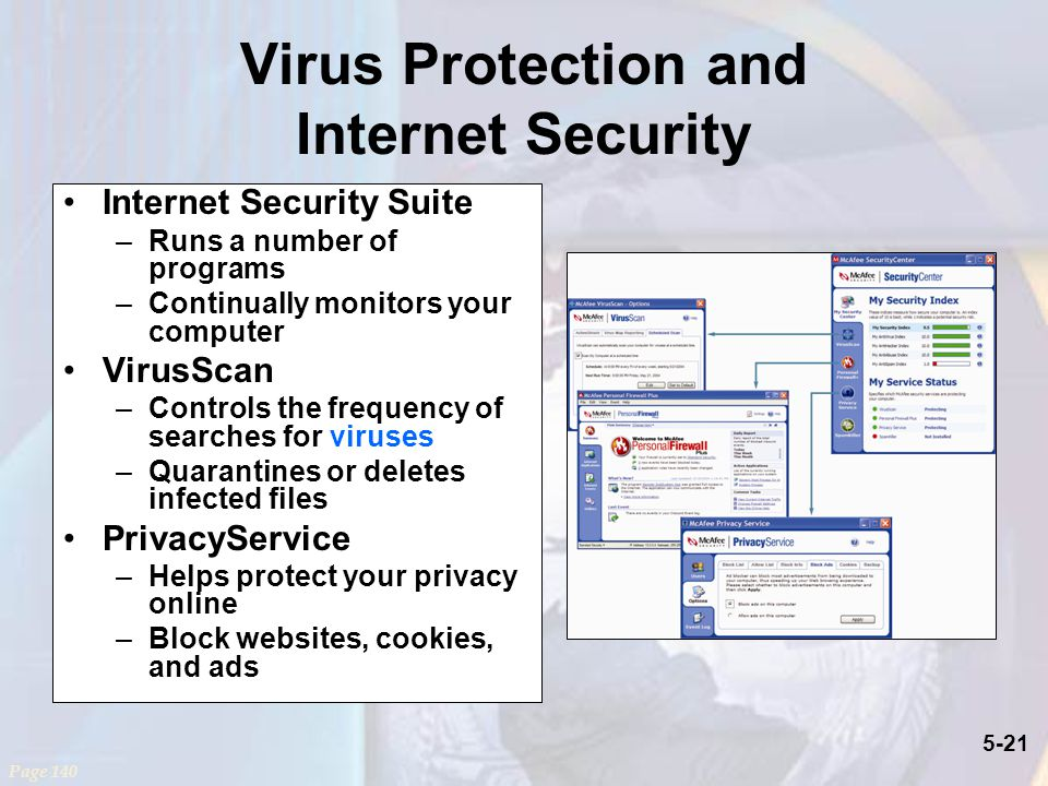 5-21 Virus Protection and Internet Security Internet Security Suite –Runs a number of programs –Continually monitors your computer VirusScan –Controls the frequency of searches for viruses –Quarantines or deletes infected files PrivacyService –Helps protect your privacy online –Block websites, cookies, and ads Page 140