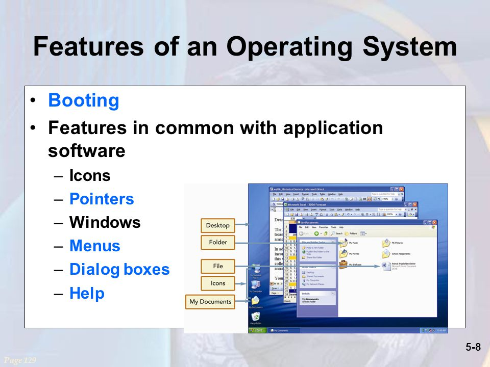 5-8 Features of an Operating System Booting Features in common with application software –Icons –Pointers –Windows –Menus –Dialog boxes –Help Page 129