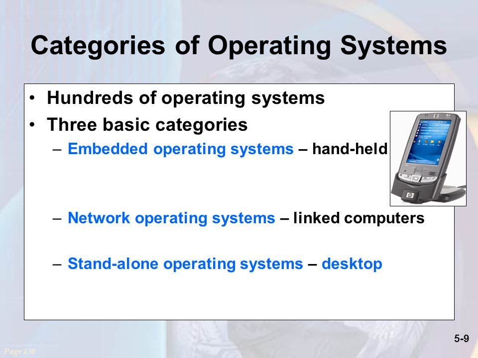 5-9 Categories of Operating Systems Hundreds of operating systems Three basic categories –Embedded operating systems – hand-held –Network operating systems – linked computers –Stand-alone operating systems – desktop Page 130