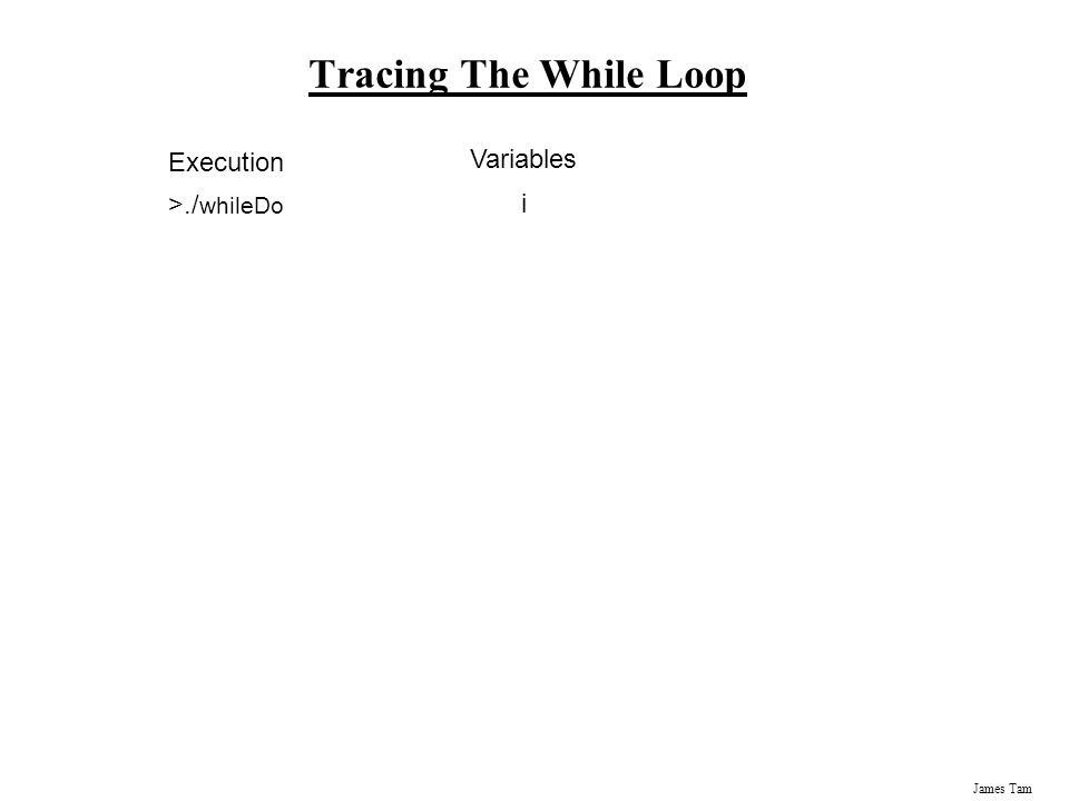 James Tam Tracing The While Loop Variables i Execution >./ whileDo