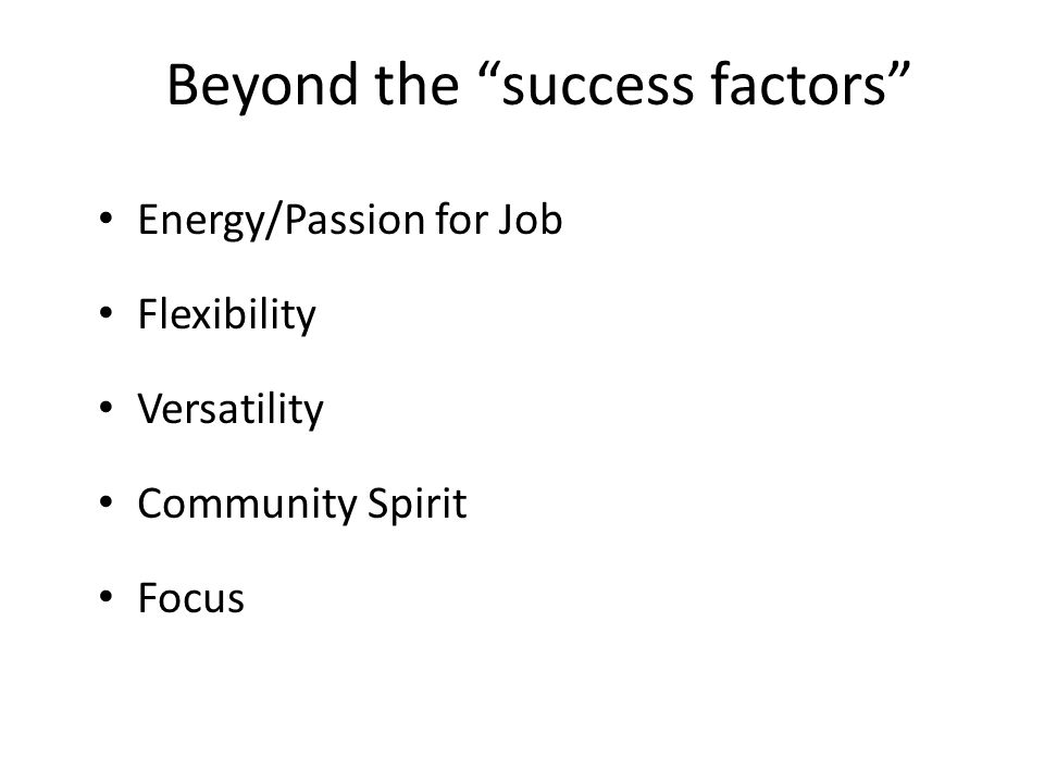Beyond the success factors Energy/Passion for Job Flexibility Versatility Community Spirit Focus