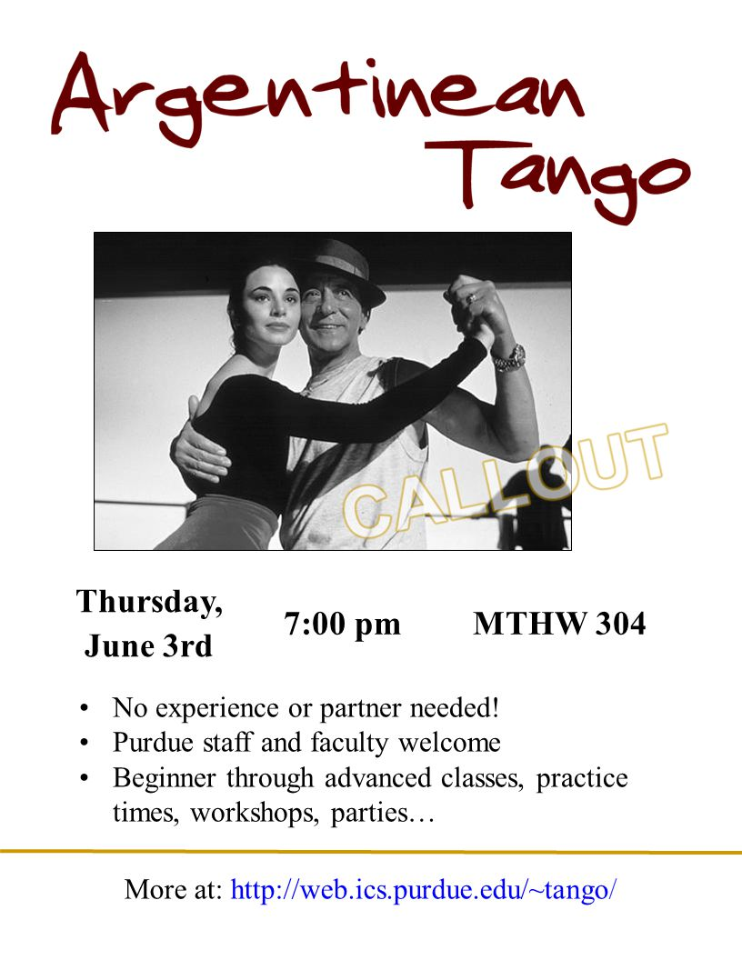 Thursday, June 3rd 7:00 pmMTHW 304 No experience or partner needed.