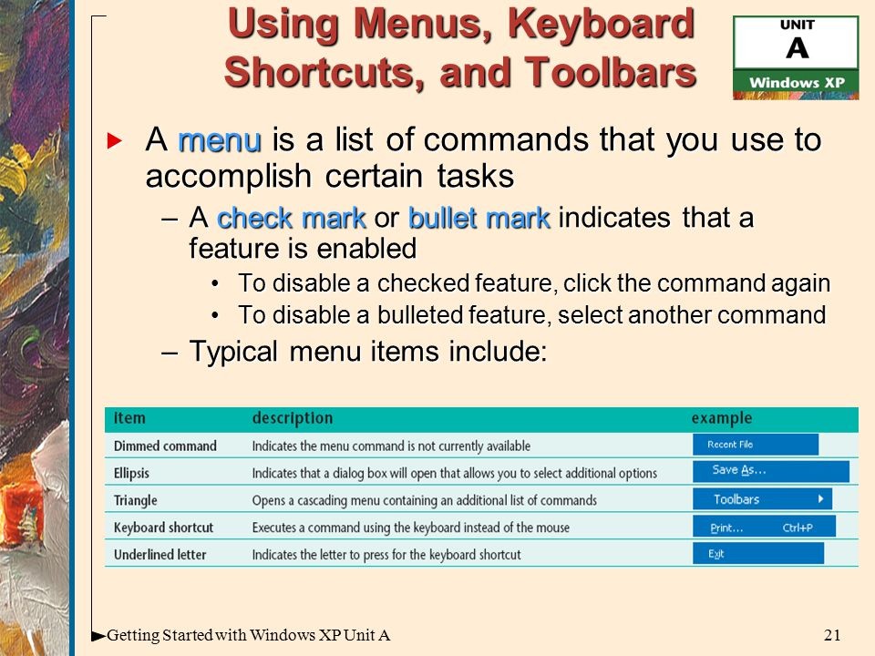 21Getting Started with Windows XP Unit A Using Menus, Keyboard Shortcuts, and Toolbars  A menu is a list of commands that you use to accomplish certain tasks –A check mark or bullet mark indicates that a feature is enabled To disable a checked feature, click the command againTo disable a checked feature, click the command again To disable a bulleted feature, select another commandTo disable a bulleted feature, select another command –Typical menu items include: