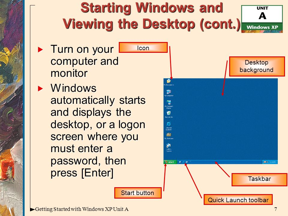 7Getting Started with Windows XP Unit A Starting Windows and Viewing the Desktop (cont.)  Turn on your computer and monitor  Windows automatically starts and displays the desktop, or a logon screen where you must enter a password, then press [Enter] Quick Launch toolbar Start button Desktop background Taskbar Icon
