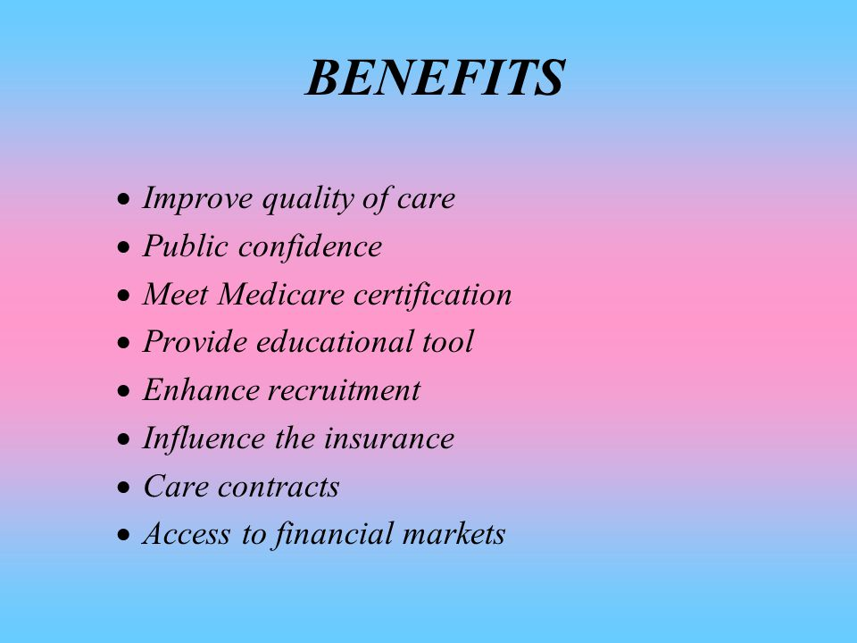 DEFINITION OF ACCREDITATION it's a formal process by which a recognized body, usualy a non-govermental organization assesses and recognizes that a health care organization meets applicable pre-determined and published standards.