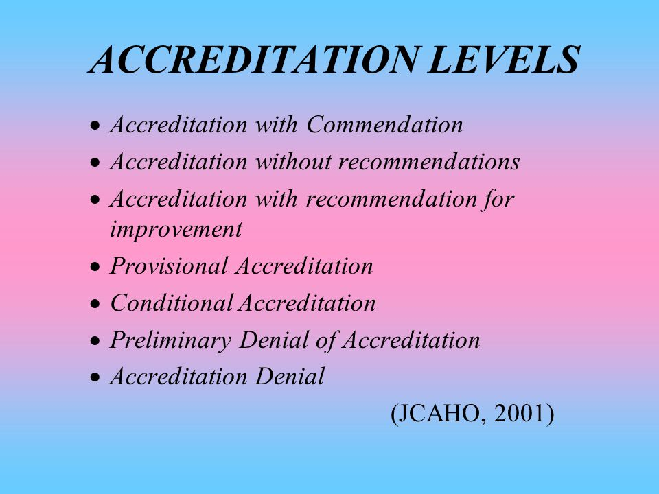 OVERALL EVALUATION SCORE  Comprehensive Accreditation Manual for Hospitals ( 500 standards )  Performance area scores are combined  Scores are based on a scale of ( )  1 = Substantial compliance  2 = Significant compliance  3 = Partial compliance  4 = Minimal compliance  5 = Noncompliance