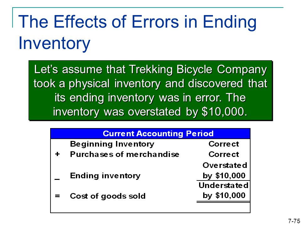 7-75 The Effects of Errors in Ending Inventory Let's assume that Trekking Bicycle Company took a physical inventory and discovered that its ending inventory was in error.