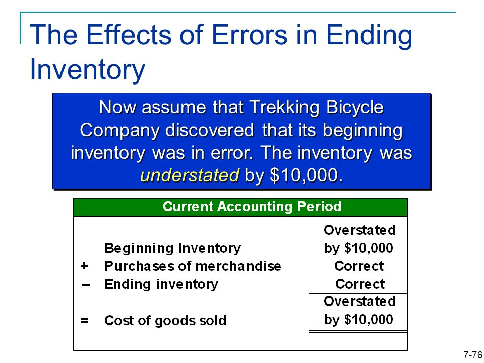 7-76 The Effects of Errors in Ending Inventory Now assume that Trekking Bicycle Company discovered that its beginning inventory was in error.