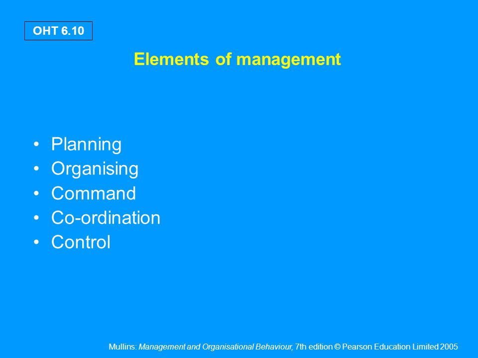 Mullins: Management and Organisational Behaviour, 7th edition © Pearson Education Limited 2005 OHT 6.10 Elements of management Planning Organising Com