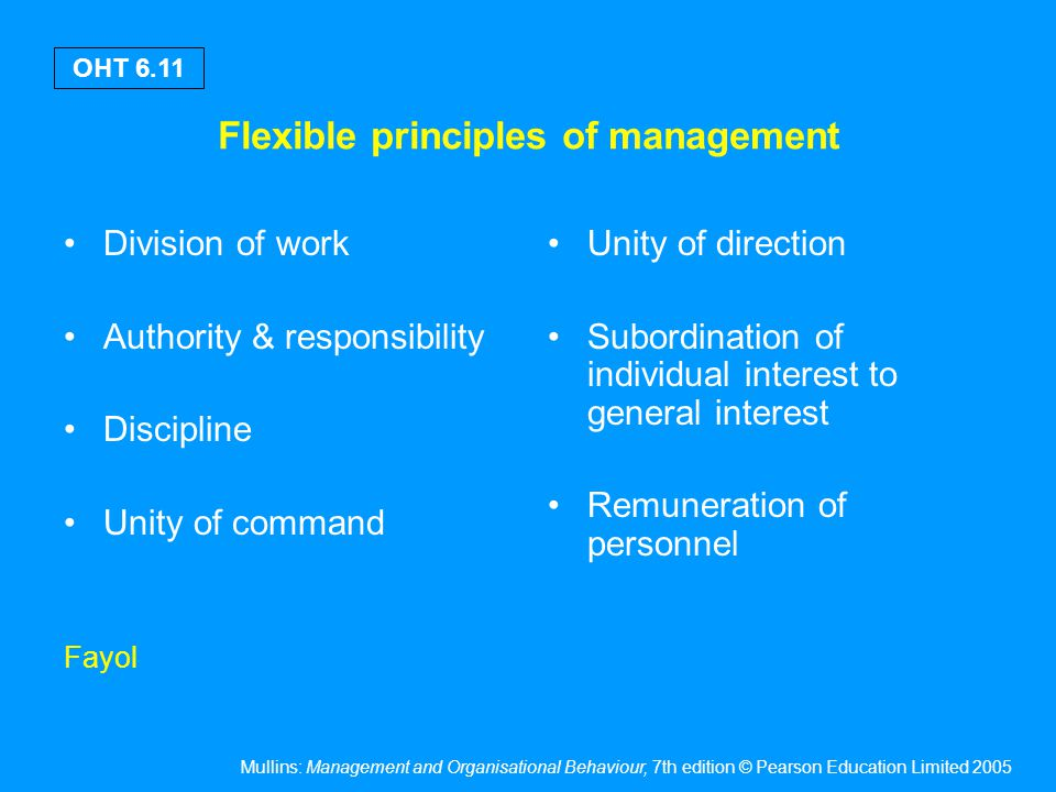 Mullins: Management and Organisational Behaviour, 7th edition © Pearson Education Limited 2005 OHT 6.11 Flexible principles of management Division of