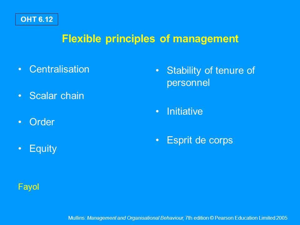 Mullins: Management and Organisational Behaviour, 7th edition © Pearson Education Limited 2005 OHT 6.12 Flexible principles of management Centralisati
