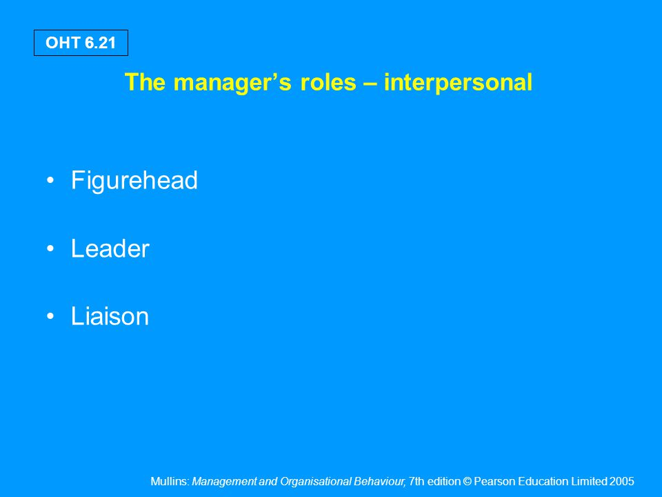 Mullins: Management and Organisational Behaviour, 7th edition © Pearson Education Limited 2005 OHT 6.21 The manager's roles – interpersonal Figurehead