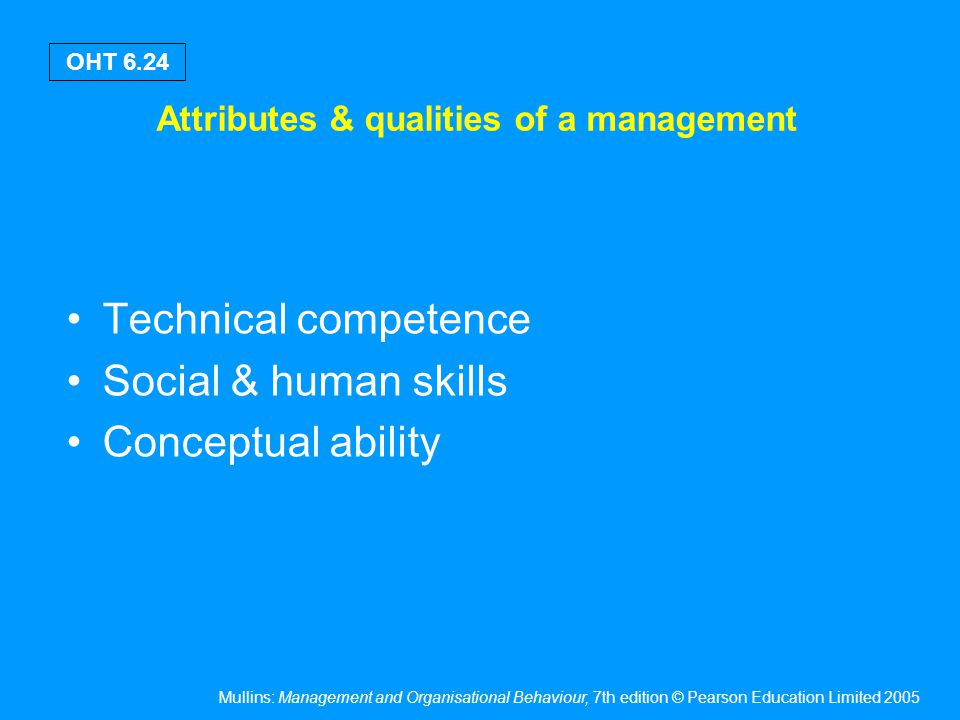 Mullins: Management and Organisational Behaviour, 7th edition © Pearson Education Limited 2005 OHT 6.24 Attributes & qualities of a management Technic