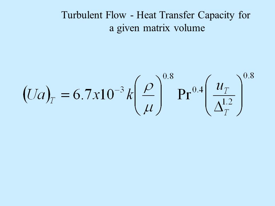 Turbulent Flow - Heat Transfer Capacity for a given matrix volume