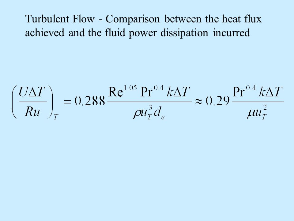 Turbulent Flow - Comparison between the heat flux achieved and the fluid power dissipation incurred