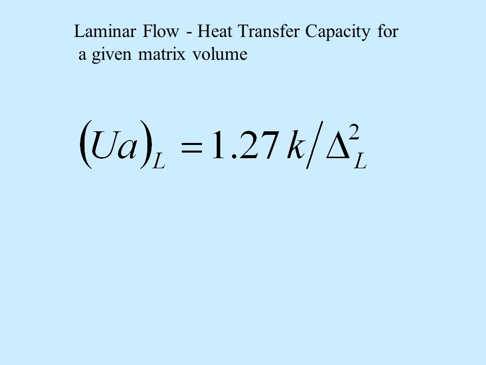 Laminar Flow - Heat Transfer Capacity for a given matrix volume