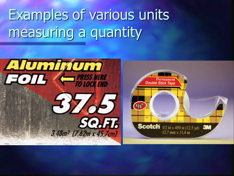 Examples of various units measuring a quantity